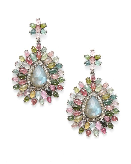 Bavna | Multicolor Diamond, Tourmaline, Labradorite & Sterling Silver Medallion Earrings | Lyst
