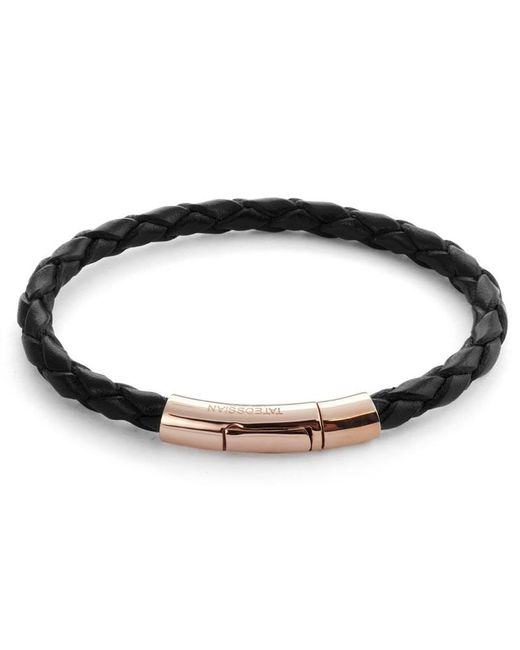 Tateossian | Single Wrap Scoubidou Black Leather Bracelet With 18k Rose Gold Clasp for Men | Lyst