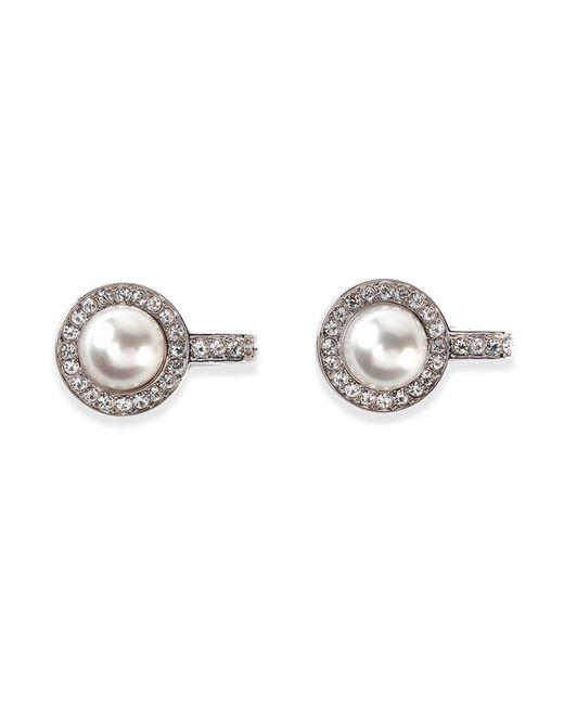Balenciaga   Metallic Small Pearl & Crystal Clip-on Earrings   Lyst