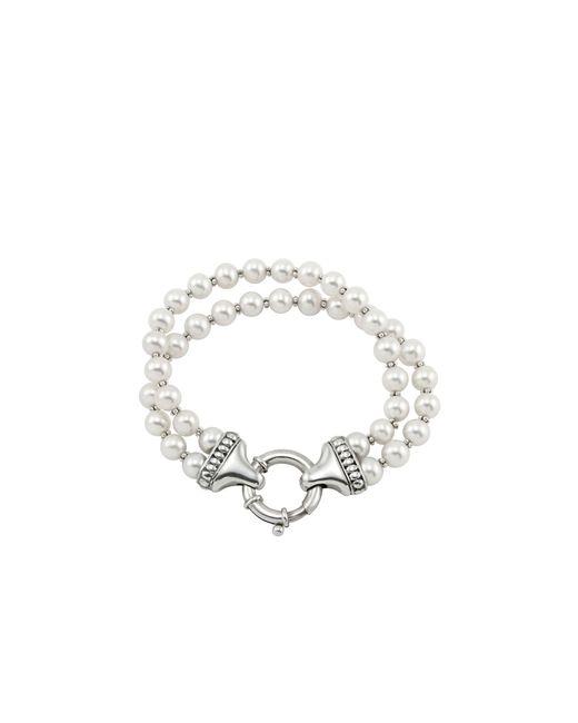 Lagos | Metallic Sterling Silver Luna 2 Strand Pearl Bracelet | Lyst