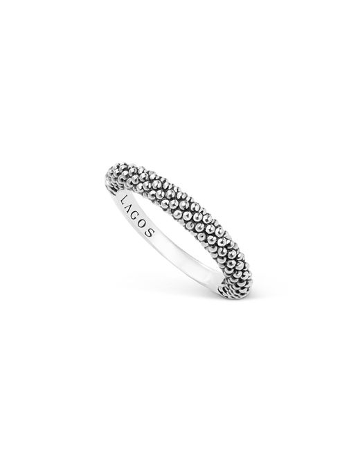 Lagos   Metallic Sterling Silver Caviar Beaded Stacking Ring   Lyst
