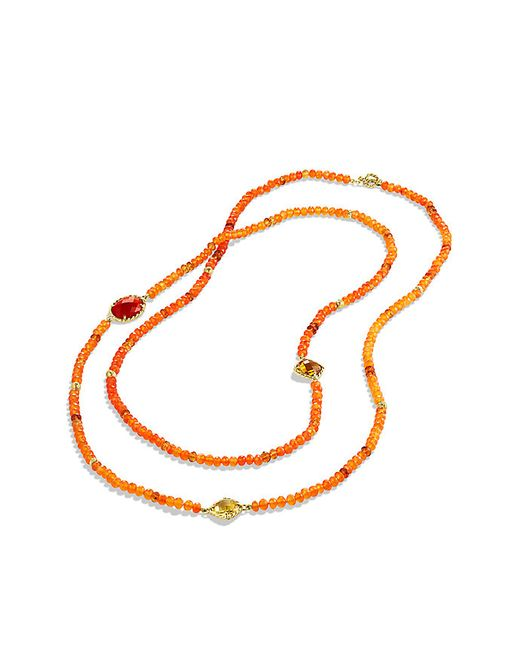 David Yurman | Dy Signature Bead Necklace With Orange Chalcedony And Carnelian In Gold | Lyst