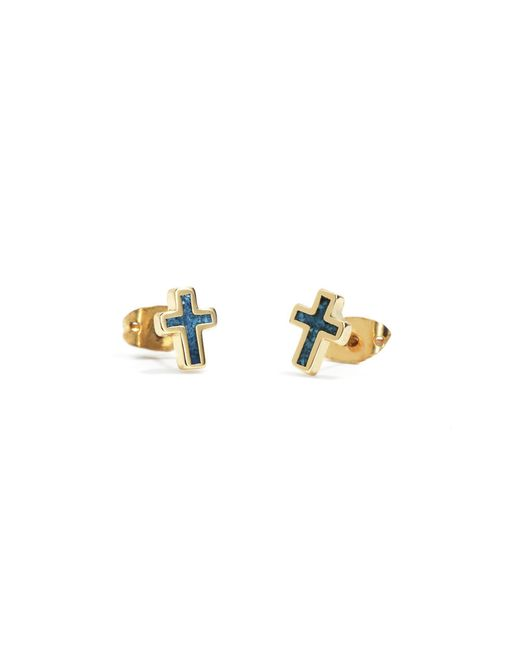 Bing Bang | Yellow Turquoise Cross Studs | Lyst