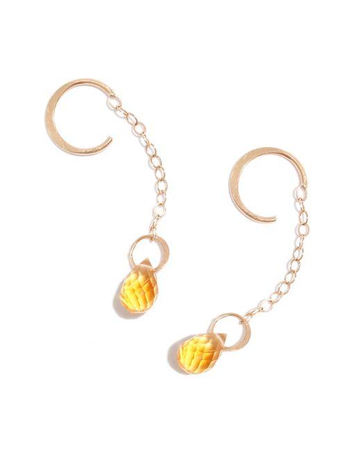 Melissa Joy Manning | Metallic Citrine Drop Hug Chain Earrings | Lyst