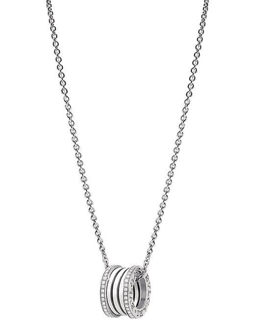 BVLGARI | Metallic B.zero1 18ct White-gold And Diamond Pendant Necklace | Lyst