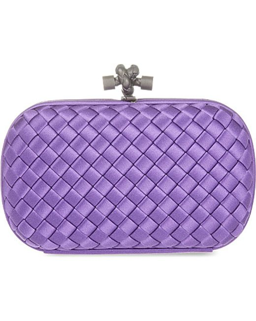 Bottega Veneta | Purple Intreccio Impero Satin Knot Clutch | Lyst