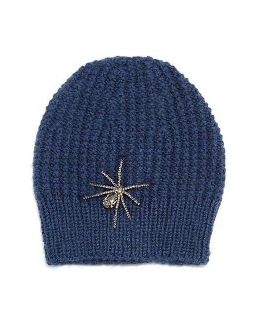 Jennifer Behr | Blue Crystal Spider Knit Beanie Hat | Lyst