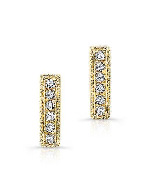 Anne Sisteron - Metallic 14kt Yellow Gold Diamond Mini Edge Bar Earrings - Lyst