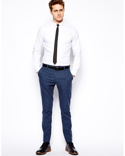 Asos Skinny Suit Trousers In Blue Dogstooth in Blue for Men - Save ...