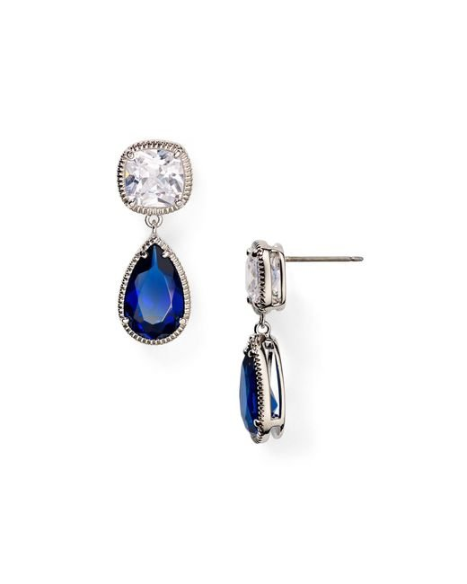 Carolee | Uptown Recolor Blue And Crystal Pear Drop Earrings | Lyst