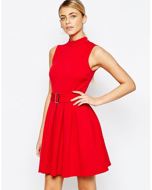 high neck mini dress with belt in save 71 lyst