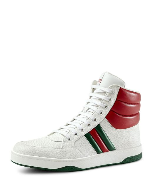 gucci contrast padded leather high top sneaker in white for men save 50 lyst. Black Bedroom Furniture Sets. Home Design Ideas
