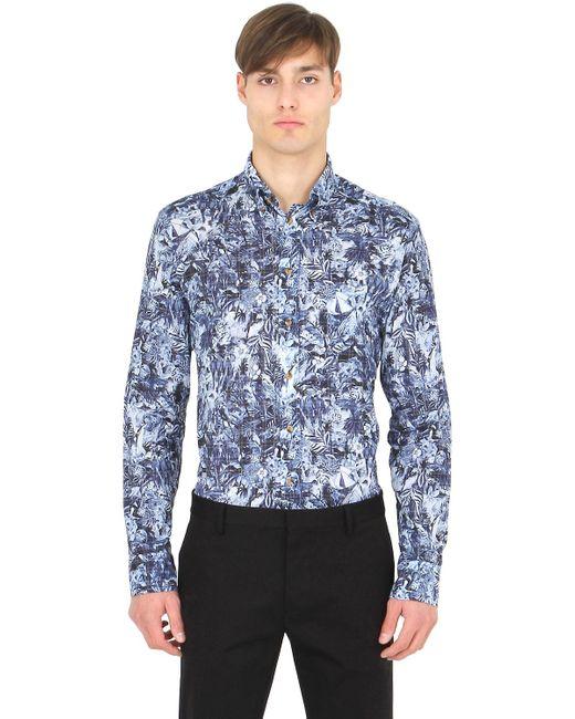 Eton of sweden slim fit button down printed shirt in blue for Slim fit white button down shirt