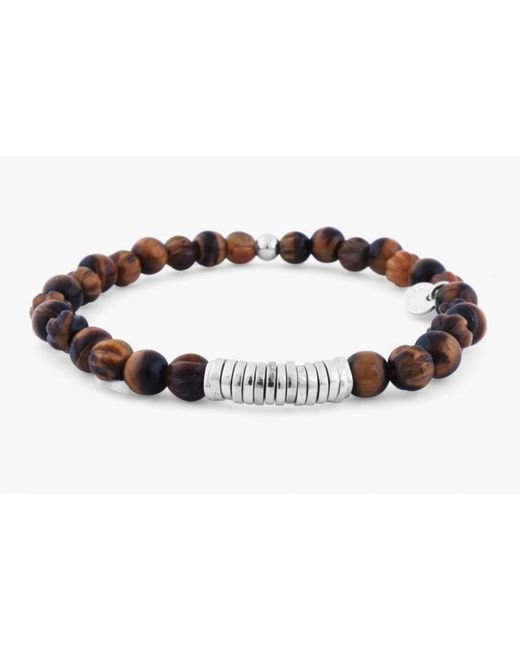 Tateossian | Disc Round Brown Tiger Eye Beaded Bracelet With Silver Spacer Discs for Men | Lyst
