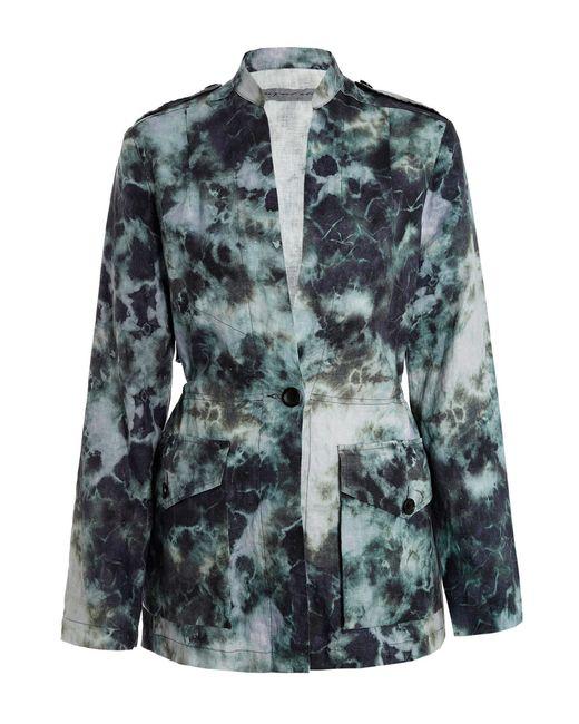 raquel allegra cosmos tie dye linen jacket in green save