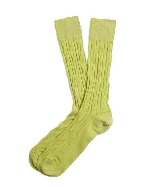 Brooks Brothers | Green Cable Crew Socks for Men | Lyst