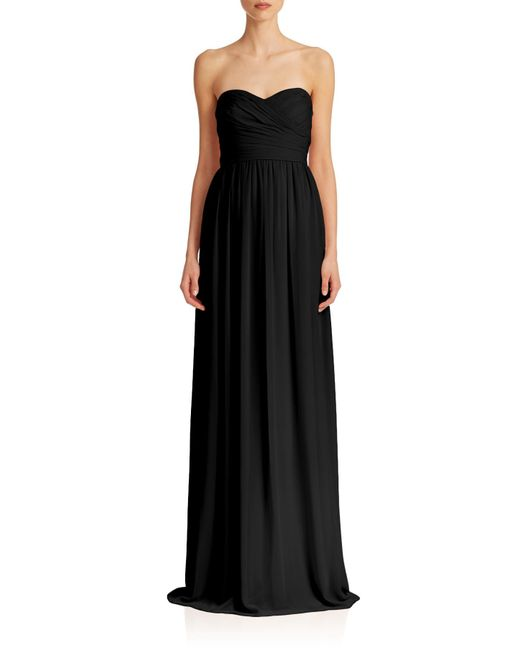 Monique Lhuillier Bridesmaids | Black Pleated Chiffon Sweetheart Gown | Lyst