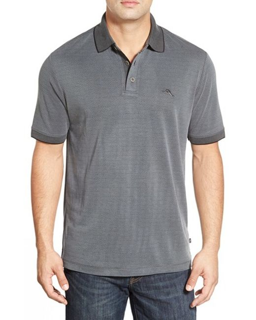Tommy Bahama | Gray 'ocean View' Short Sleeve Jacquard Polo for Men | Lyst