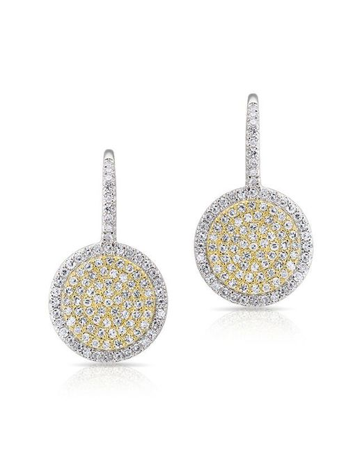 Anne Sisteron | Metallic 14kt White Gold And Yellow Gold Diamond Disc Earrings | Lyst