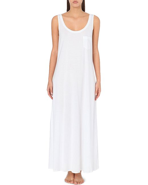 Hanro | White Deluxe Cotton-jersey Nightdress | Lyst