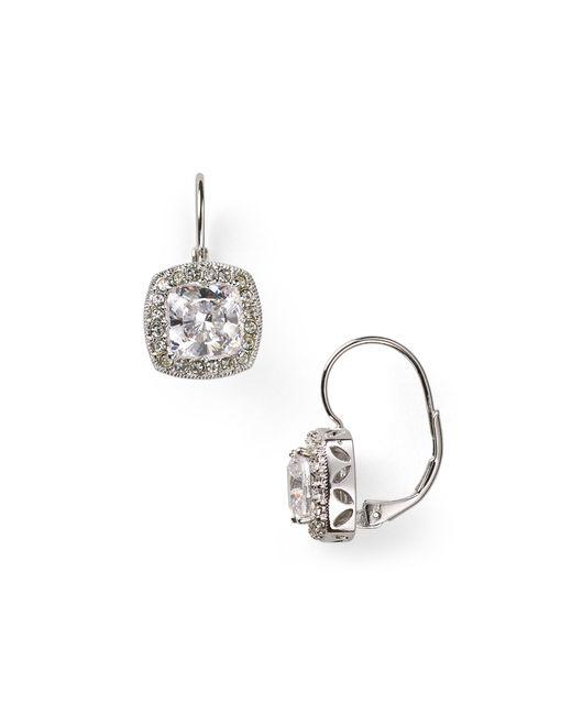 Nadri | Metallic Framed Cushion Leverback Earrings | Lyst
