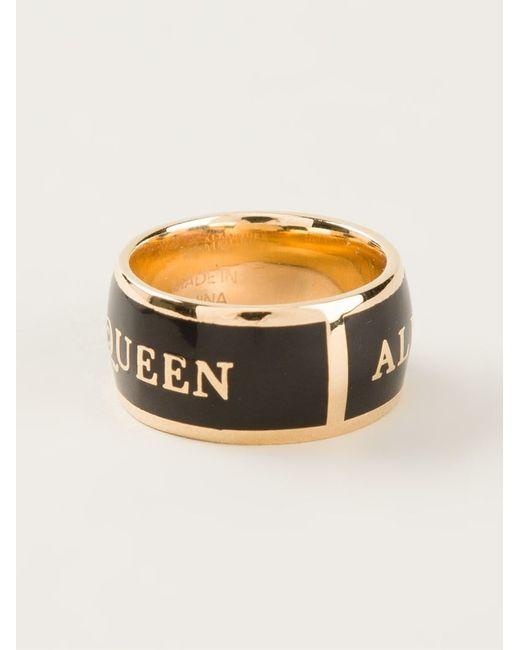 Alexander McQueen | Black Logo Print Ring | Lyst