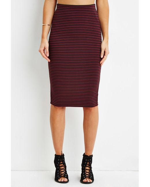 Forever 21 | Red Striped Pencil Skirt | Lyst