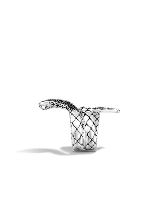 John Hardy | Cobra Coil Ring With Black Chalcedony And Diamonds | Lyst