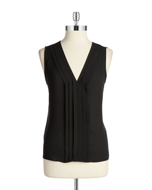 Calvin Klein | Black Pleat Front Shell | Lyst