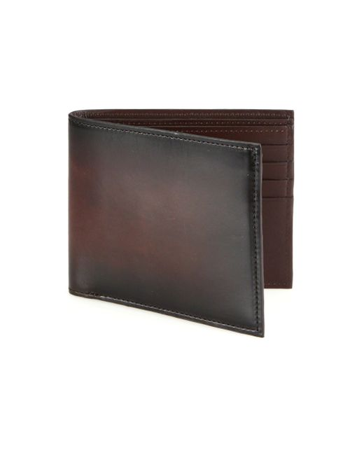 Saks Fifth Avenue | Brown Burnished Leather Bifold Wallet for Men | Lyst