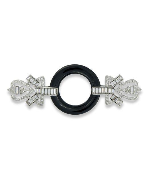 Kenneth Jay Lane | Black And Crystal Art Deco Brooch | Lyst
