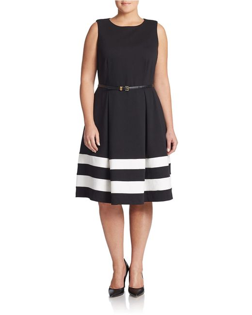 Calvin Klein | Black Belted Stripe A-line Dress | Lyst