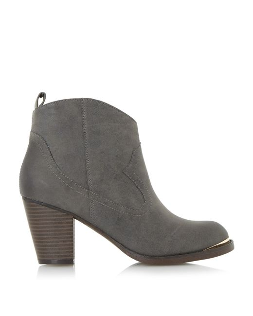 dune paityn metal detail western ankle boots in brown