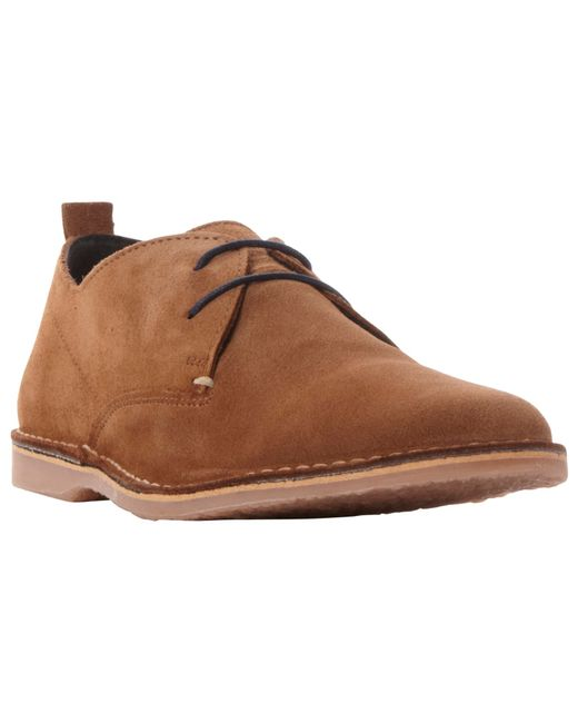 Bertie Bronson Lace Up Suede Derby Shoes In Brown For Men