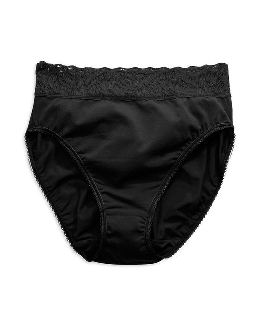 Wacoal | Black Cotton Suede Hi Cut Briefs | Lyst
