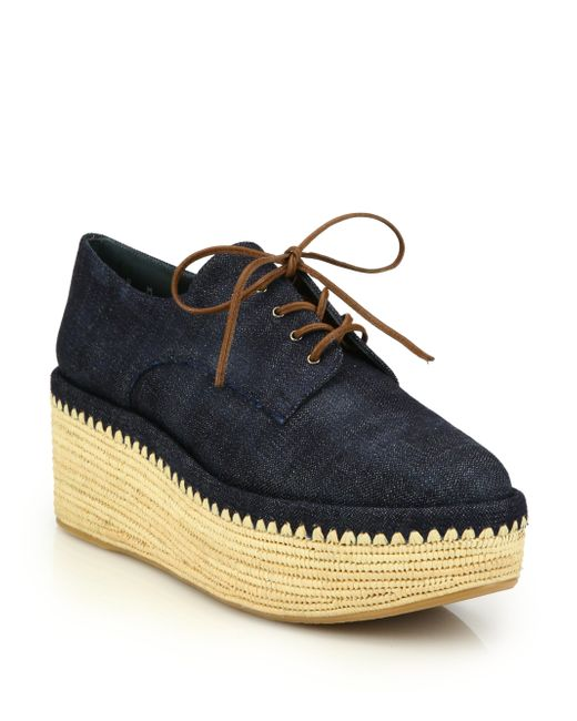 stuart weitzman kent raffia denim platform creeper shoes