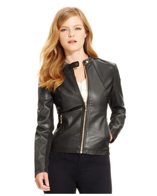 Ivanka trump Faux-leather Moto Jacket, Black in Black | Lyst