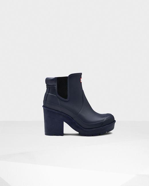 Hunter | Blue Women's Original Block Heel Chelsea Boots | Lyst