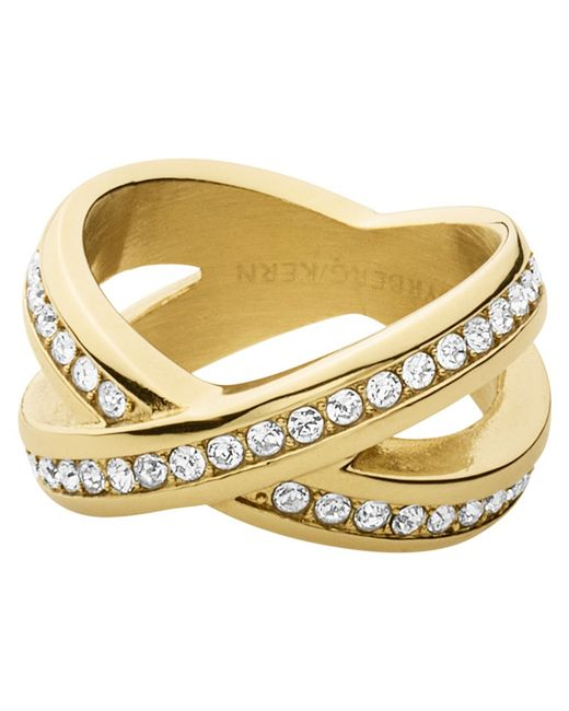 Dyrberg/Kern | Metallic Dyrberg/kern Crystal X-design Ring | Lyst