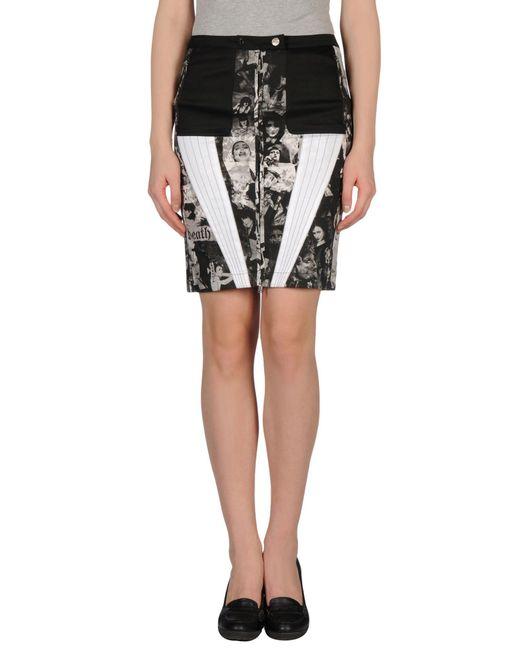 richmond denim knee length skirt in black save 60 lyst