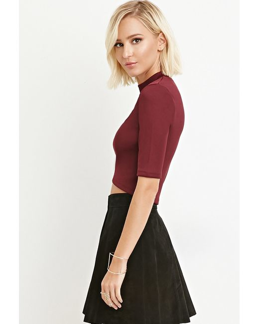 Forever 21 | Purple Ribbed Mock Neck Top | Lyst