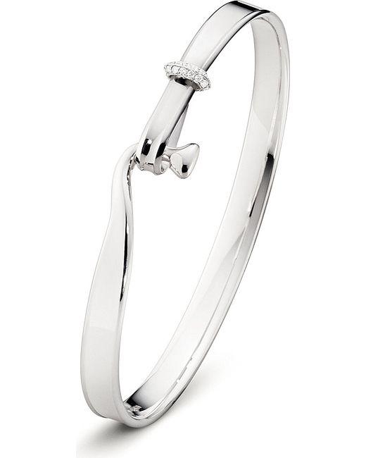 Georg Jensen | Metallic Torun Sterling Silver 18 Kt White Gold And Diamond Bangle | Lyst