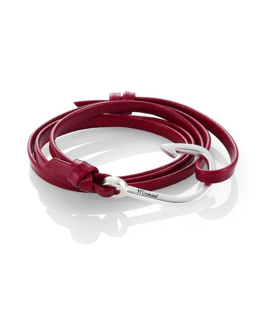Miansai | Red Silver-plated Hook Leather Bracelet for Men | Lyst