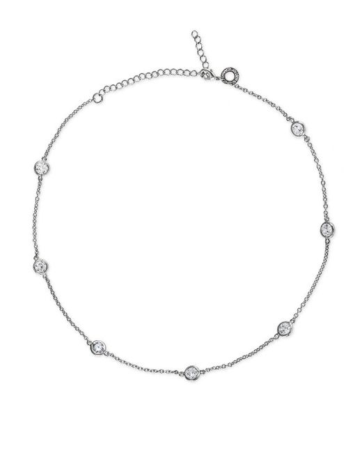 "CZ by Kenneth Jay Lane | Metallic 6cttw Round Cz Neck Stations 16"" Classic 6mm 