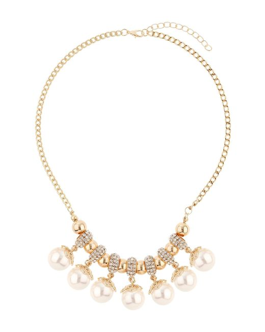 Mikey | Metallic Crystal Rings Hanging Pearls Necklace | Lyst