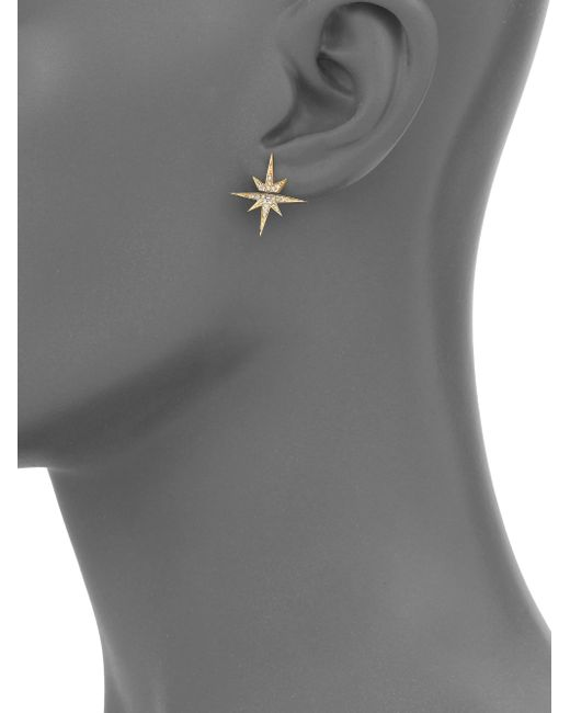 Sydney Evan | Metallic Diamond & 14k Yellow Gold Starburst Single Stud Earring | Lyst