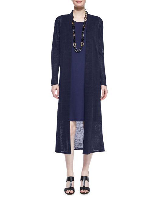 Eileen Fisher | Blue Washable Sheer Hemp Extra-long Cardigan | Lyst