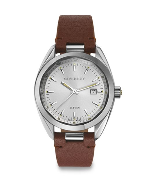 Givenchy eleven stainless steel leather strap watch brown in silver for men silver brown lyst for Givenchy watches