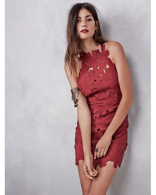 Free People | Red Jessa Cut-Out Lace Dress | Lyst