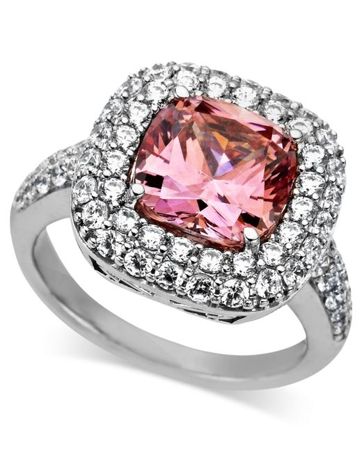 Arabella | Metallic Pink And White Swarovski Zirconia Two Row Cushion Cut Ring (8-3/8 Ct. T.w.) | Lyst